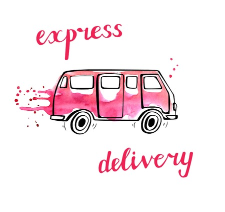 Vector transport illustration in doodle style. Hand drawn bus with black outline and pink watercolor stains, curtains and drips. Isolated on white. Express delivery of fashion and beauty products Vectores