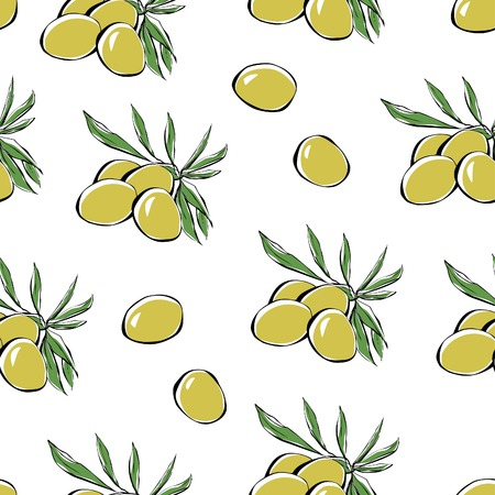 hand outline: Vector seamless pattern with olives. Hand drawn doodle bunch of fruits with leaves. Black outline and colorful elements on white background. Illustration