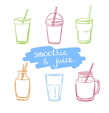 Vector set of hand drawn doodle glasses, jars and bottles with smoothie and juice. Collection of bright colorful sketchy elements isolated on white background.