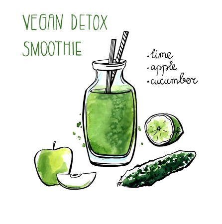 Vector illustration of vegan detox smoothie. Hand drawn recipe of healthy drink made of lime, apple and cucumber. Black outline and bright watercolor stains with artistic drips. Isolated on white.