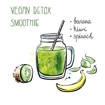 Vector illustration of vegan detox smoothie. Hand drawn recipe of healthy drink made of kiwi, banana and spinach. Black outline and bright watercolor stains with artistic drips. Isolated on white.