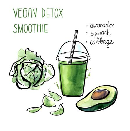 well being: Vector illustration of vegan detox smoothie. Hand drawn recipe of healthy drink made of avocado, cabbage and spinach. Black outline and bright watercolor stains with artistic drips. Isolated on white.