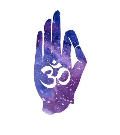jnana: Vector illustration with hand in pose Jnana or Chin mudra and hindu sign Om. Bright watercolor textured background with space texture with religious symbol Aum. Typography poster and card design. Illustration