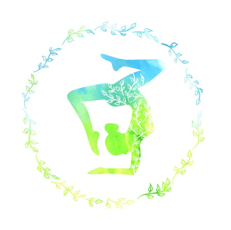 body shape: Yoga illustration with silhouette of slim woman with bright blue and green watercolor texture and floral ornament. Spring colors and leaves decoration in circle plant frame. Isolated on white. Illustration