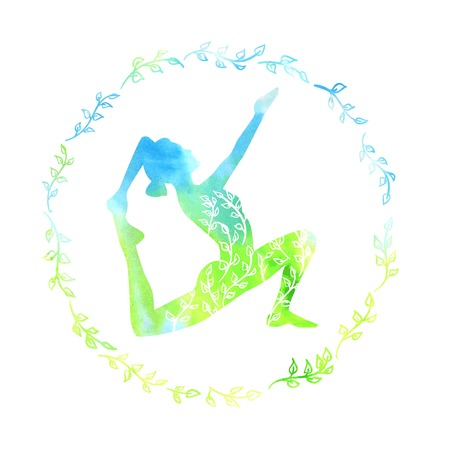 Vector illustration with silhouette of yoga woman with bright blue and green watercolor texture and floral ornament. Spring colors and floral decoration in circle frame. Isolated silhouette on white. Ilustração