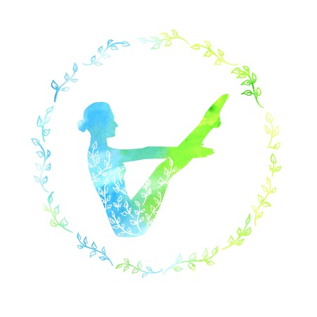 spring balance: Vector yoga illustration with silhouette of slim woman with bright blue and green texture and floral ornament. Spring colors and leaves decoration in circle plant frame. Boat pose - Naukasana Illustration