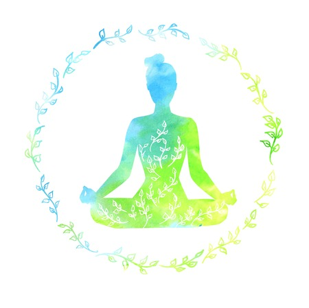 Vector illustration with silhouette of yoga woman with bright watercolor texture and floral ornament. Spring colors and leaves decoration in circle frame. Lotus pose - Padmasana. Isolated on white