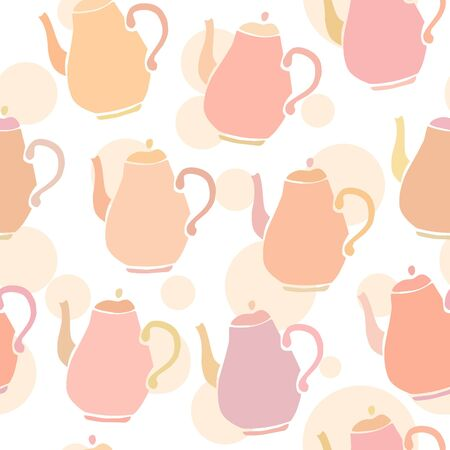 beige background: Lovely seamless pattern with cute doodle tea pots in delicate pink, brown, violet colors on white background with beige dots. Cute vector background for menu design, prints, covers and wrapping paper.