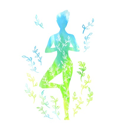 Vector illustration with a silhouette of yoga woman with blue and green watercolor texture and floral ornament. Spring colors and leaves decoration. Isolated figure on white. Tree pose - Vrksasana.