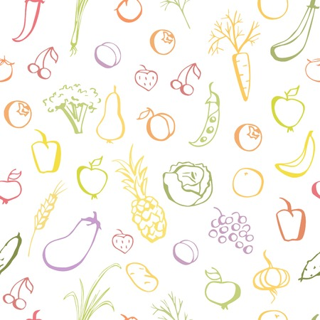 Vector seamless pattern with colorful doodles of fruits and vegetables. Hand drawn elements on white background. Simple backdrop with colorful outlines for your design.