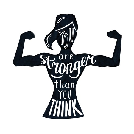 bicep curls: Vector illustration with female figure and lettering in black and white. Hand written phrase You are stronger than you think. Typography design with isolated silhouette of slim woman with biceps curls