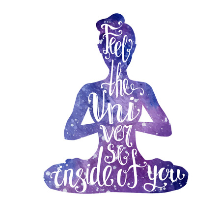 well being: Vector yoga illustration with lettering. Female silhouette with bright violet watercolor space texture and handwritten phrase Feel the Universe inside of you Woman meditating in lotus pose - Padmasana