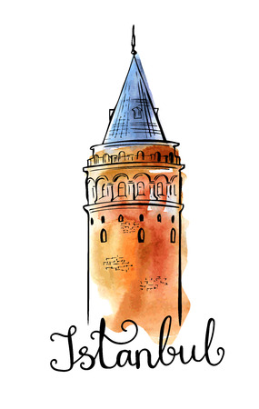 Vector illustration with hand drawn Galata Tower and handwritten inscription Istanbul. Black outline and bright watercolor texture isolated on white background. Poster, card, cover, flyer design.