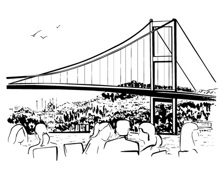 sketch drawing: Vector hand drawn illustration with a famous landmark the Bosphorus Bridge in Istanbul, Turkey. Black ink sketch of turkish attraction and silhouettes of people eating in a cafe on white background.