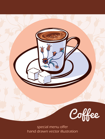 lump: Vector illustration with traditional turkish coffee in a decorated cup on a plate with lump sugar on beige background with ottoman tulips and place for text. Flyer, card and advertising poster design.