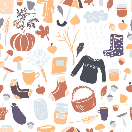 white clothes: Autumn vector seamless pattern with colorful hand drawn doodle elements in grey, violet, orange and brown colors on white background. Leaves, vegetables, fruits, mushrooms and cold season clothes.