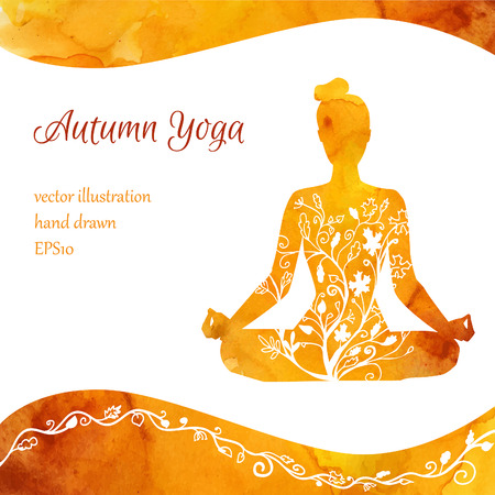 Vector illustration with silhouette of yoga woman with watercolor texture and floral ornament. Autumn colors and tree leaves decoration. Card, poster, flyer and banner template with place for text. Vettoriali