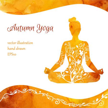 Vector illustratie met silhouet van yoga vrouw met waterverf textuur en florale versiering. Herfstkleuren en bladeren van de bomen decoratie. Kaart, poster, flyer en banner sjabloon met plaats voor tekst. Stockfoto - 62226664