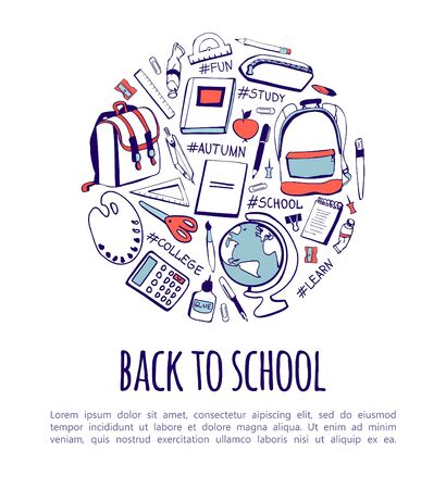 Vector illustration with hand drawn doodle school supplies and hashtags in circle concept with place for text on white background. Back to school card, poster, flyer or banner design.