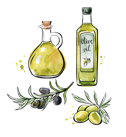 glass bottle: Set of vector illustrations Olive oil. Hand drawn green and black olives with leaves, glass bottle and pitcher. Black outline and bright color texture isolated on white background.