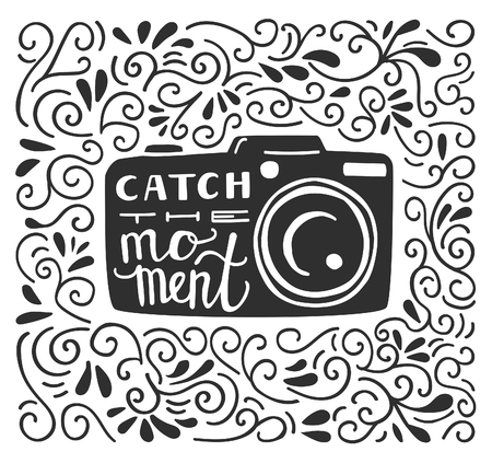 black swirls: Vector illustration in black and white color with lettering Catch the moment. Photo camera silhouette, hand written phrase and doodle swirls on white background. Typography poster and card design.