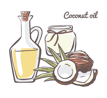 Set of vector illustrations Coconut oil. Hand drawn coco with leaves, glass bottle and jar. Doodle objects isolated on white background. Illustration
