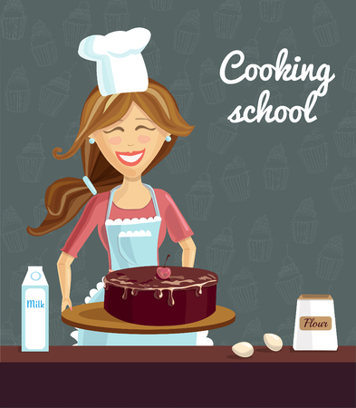 Vector illustration with young happy woman baking chocolate cherry cake on dark background with doodle cupcakes. Poster and card template for culinary classes and cooking school. Illustration
