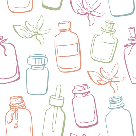 apothecary: Vector seamless pattern with doodle bottles with essential oils and flowers. Hand drawn glass vials and flasks. Blue, green, orange and violet outline on white background. Illustration