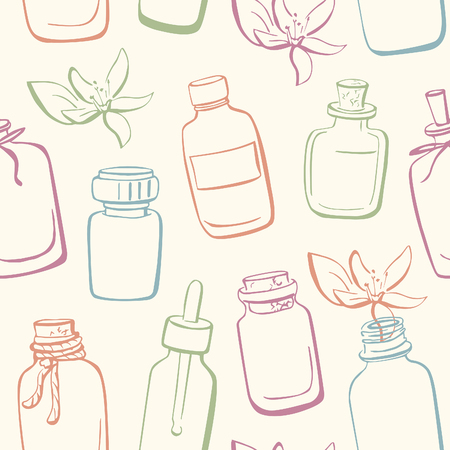 freehand: Vector seamless pattern with doodle bottles with essential oils and flowers. Hand drawn glass vials and flasks. Blue, green, orange and violet outline on beige background.