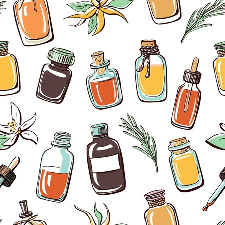rosemary: Vector seamless pattern with hand drawn essential oil bottles on white background with doodle flowers and rosemary twig. Colorful backdrop with bright elements for design. Illustration
