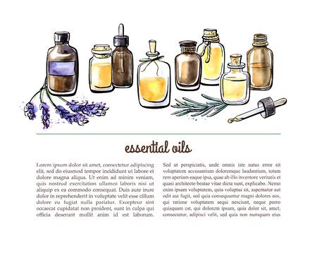 Vector illustratie met essentiële oliën flessen, aromatische planten en bloemen. Getrokken aquarel objecten op een witte achtergrond met plaats voor tekst. Aromatherapie kaart, flier of folder ontwerp. Vector Illustratie