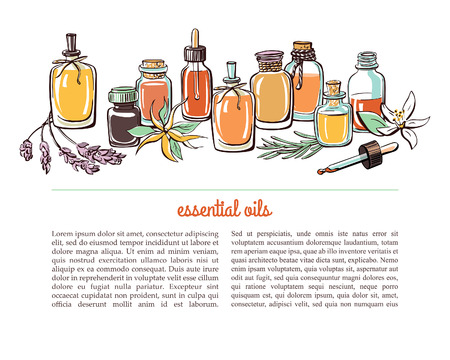 Vector illustration with essential oil bottles, aromatic plants and flowers. Bright colorful doodle objects on white background with place for text. Aromatherapy card, flier or leaflet design. Ilustração