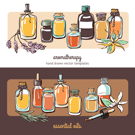 Vector illustrations with essential oil bottles, flowers and plants. Horizontal compositions with hand drawn objects on white and dark brown backgrounds. Aromatherapy card, banner or flier design.