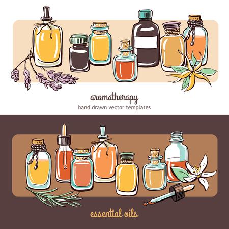 Vector illustraties met essentiële oliën flessen, bloemen en planten. Horizontale composities met de hand getekende objecten op wit en donker bruin achtergronden. Aromatherapie kaart, banner of vlieger design.