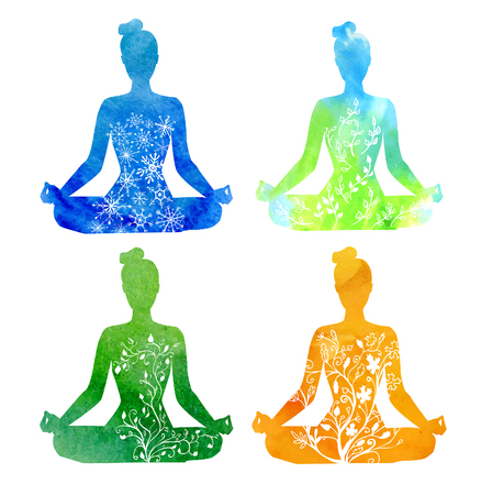 Four seasons of yoga. Set of vector silhouettes of yoga women with blue, green and orange watercolor textures and hand drawn ornaments with snowflakes, leaves and flowers. Lotus pose - Padmasana. Illustration