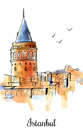 Vertical sketchy illustration with hand drawn Galata Tower in Istanbul, Turkey. Famous turkish landmark with black outline and watercolor texture isolated on white. Poster, card, cover, flyer design.