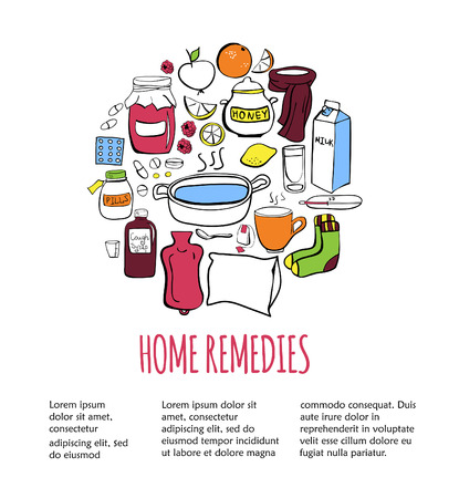cough syrup: Colorful vector illustration Home remedies. Doodle elements in a circle with place for text on white background. Card, flyer, poster or banner design.