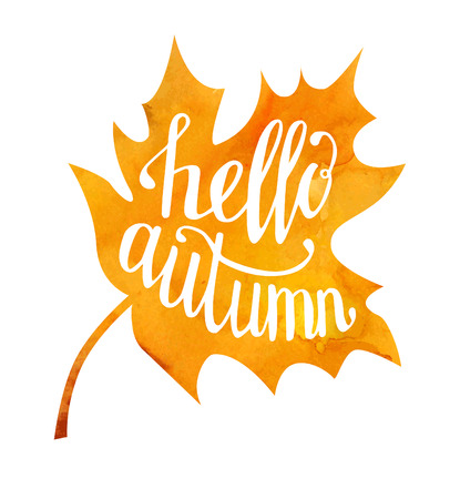 say hello: Vector illustration of maple leaf with hand written phrase Hello autumn. Hand written slogan on bright watercolor texture isolated on white background for your poster, placard, card or flyer design.