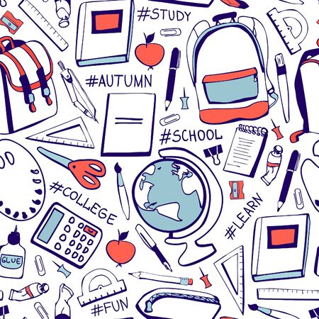Vector seamless pattern Back to school. Hand drawn doodle school supplies and handwritten hashtags in blue and red colors on white background. Print, backdrop, wallpaper, wrapping paper design.