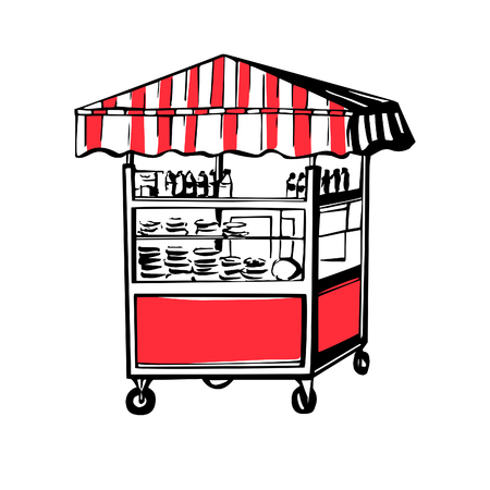 Vector illustration of turkish street food cart with simit bagels isolated on white background.