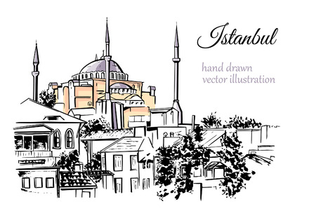 Hand drawn illustration with a silhouette of Hagia Sophia in Istanbul, Turkey. Black ink sketch of famous turkish landmark with watercolor stains isolated on white background. Vectores