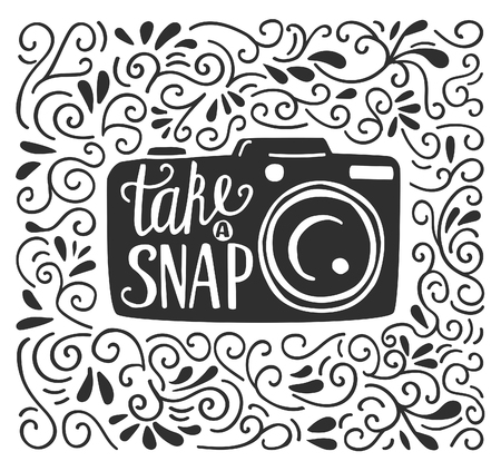 snap: Vector illustration in black and white color with lettering Take a snap. Photo camera silhouette, hand written phrase and doodle swirl ornament on white background. Typography poster and card design. Illustration