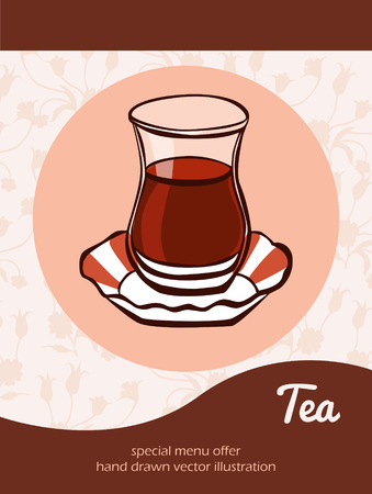 turkish: Vector illustration with traditional turkish tea in an authentic glass on a plate on beige background with ottoman tulips and place for text. Flyer, card, banner and advertising poster design.
