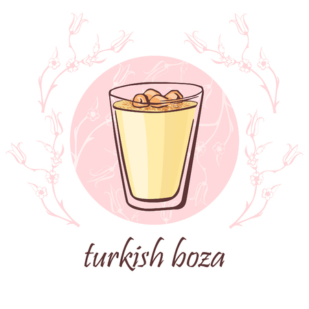 floral objects: Hand drawn vector illustration with a cup of traditional turkish beverage boza with cinnamon powder and nuts. Isolated doodle objects on a pink circle with floral ornament with ottoman tulips.