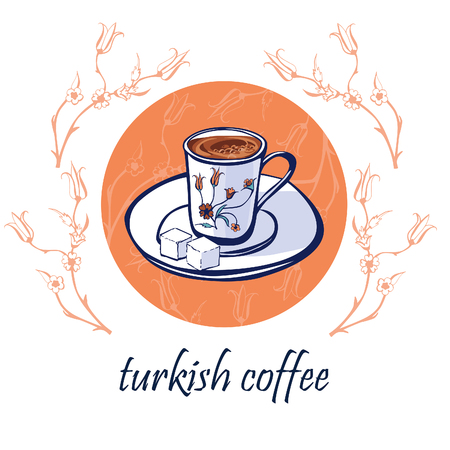 floral objects: Hand drawn vector illustration with traditional turkish coffee in an authentic decorated cup on a plate with lump sugar. Isolated doodle objects on a circle with floral ornament with ottoman tulips.