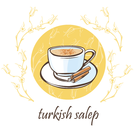 floral objects: Hand drawn vector illustration with a cup of traditional turkish hot beverage salep with cinnamon sticks on a plate. Isolated doodle objects on a beige circle with floral ornament with ottoman tulips.
