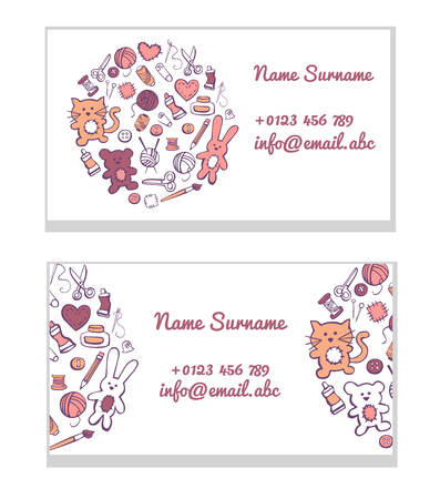 Set of business card templates Hand made toys. Cute doodles of sewing and craft supplies in brown, orange and pink colors in circle concept on white background.