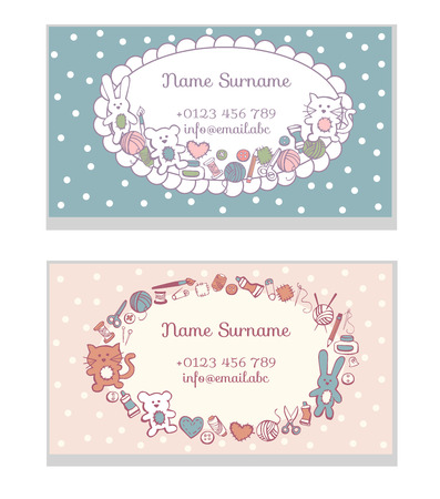 Set of business card templates Hand made toys. Cute doodles of sewing and craft supplies on blue and pink dot background. 向量圖像