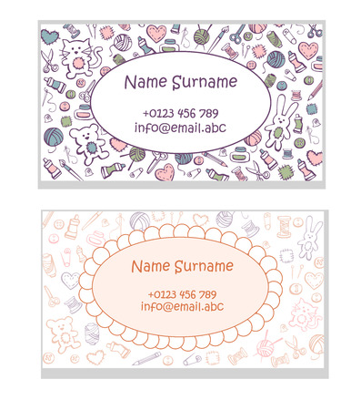 Set of business card templates Hand made toys. Cute pattern with doodles of sewing and craft supplies in brown, orange, pink, green and blue colors with place for your text and data.