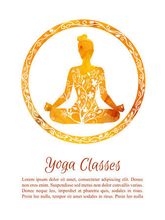Card and flyer template Autumn yoga classes. Vector illustration with silhouette of yoga woman with watercolor texture and floral ornament. Yellow and orange flowers and tree leaves decoration. Illustration